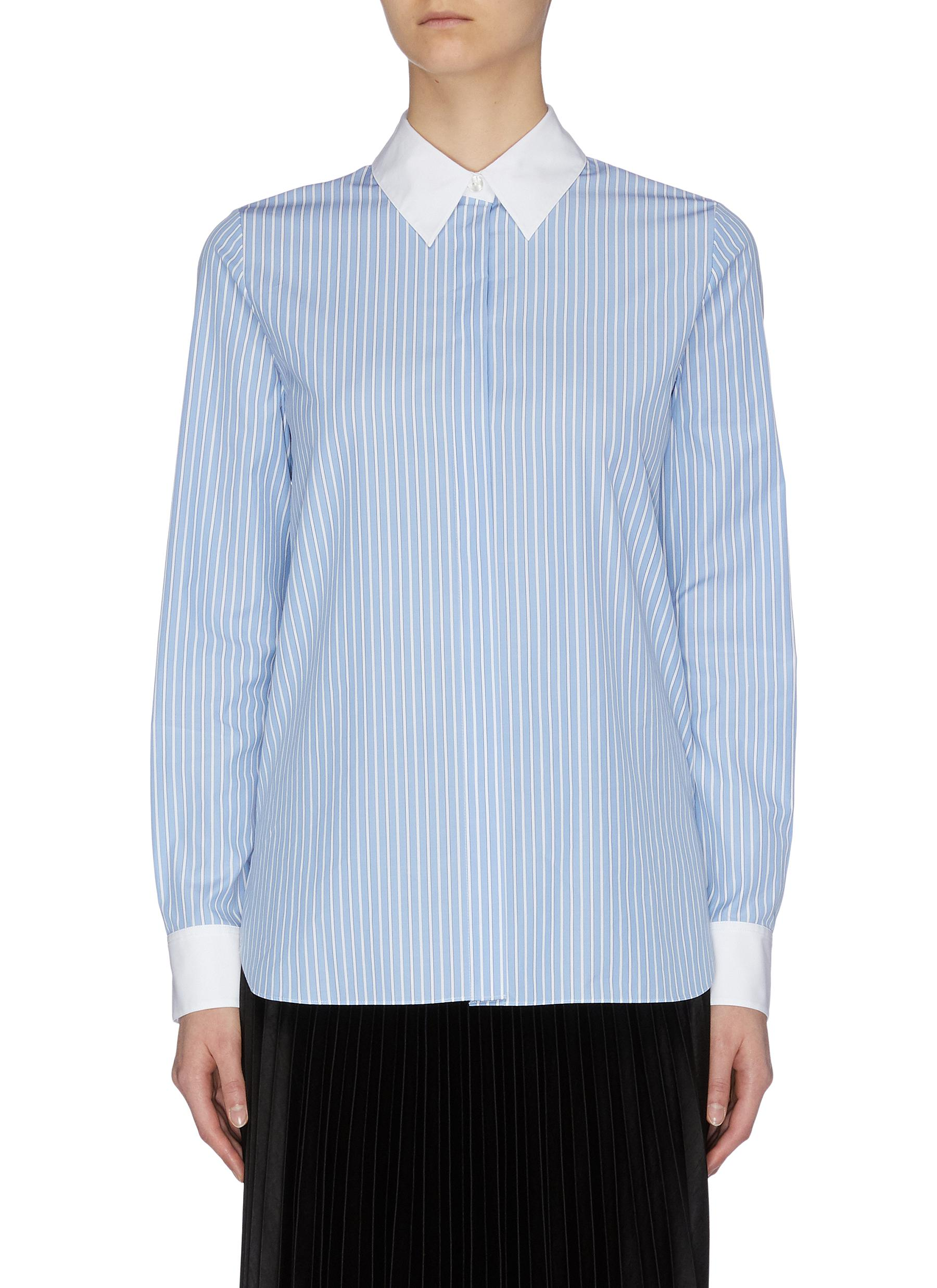 shop Theory Contrast collar and cuff stripe shirt online