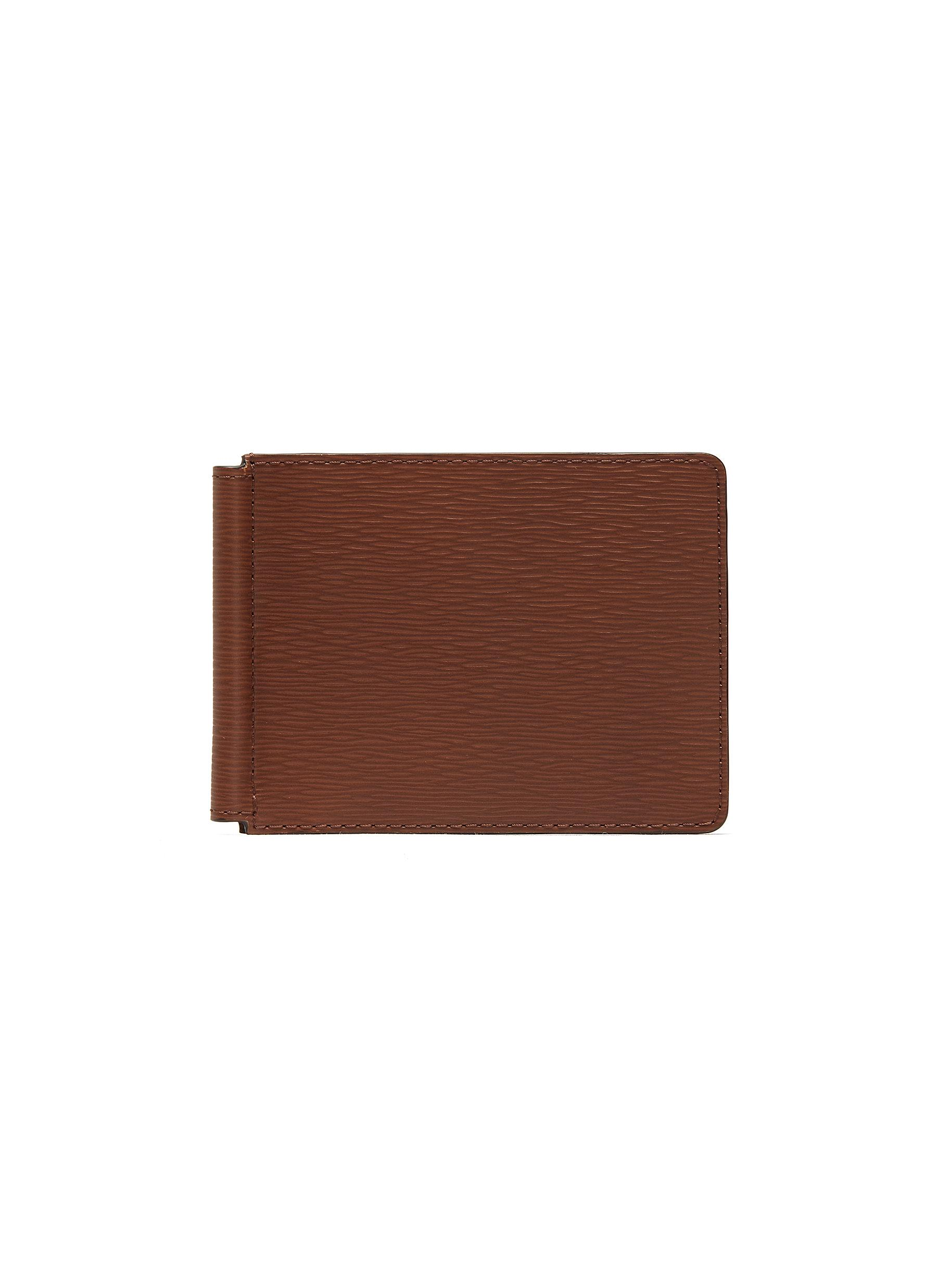 Embossed calfskin leather money clip wallet