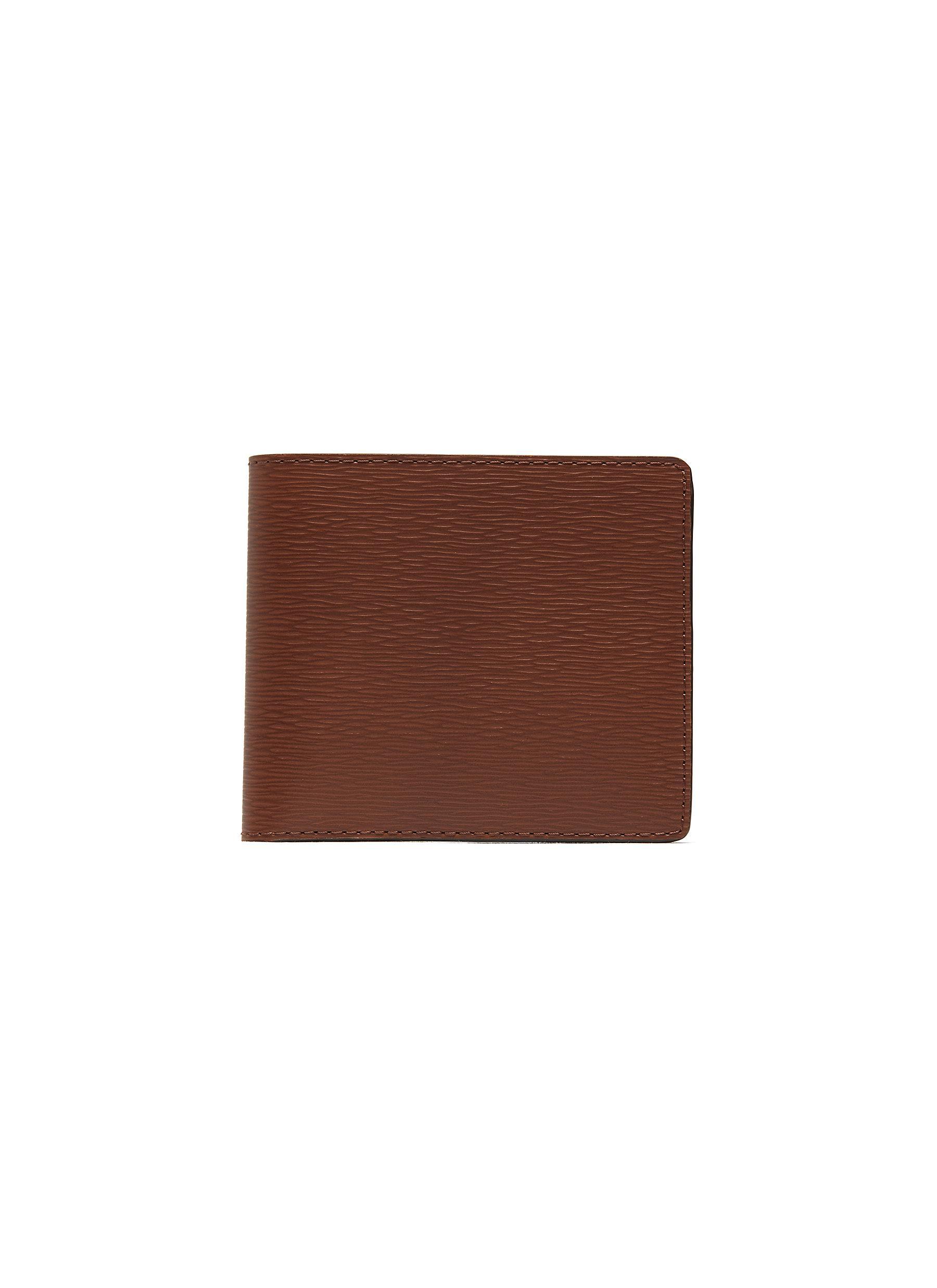 'Hipster' embossed calfskin leather bi fold wallet