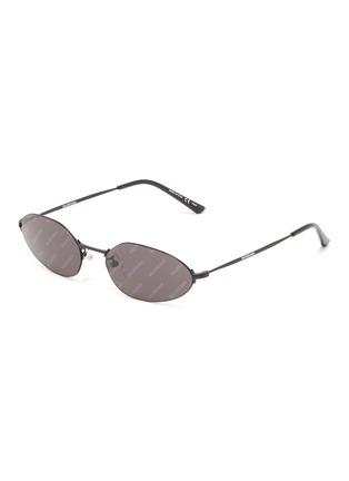 Main View - Click To Enlarge - BALENCIAGA - Oval metal frame logo print sunglasses