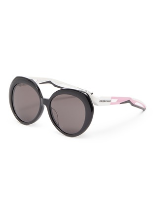Main View - Click To Enlarge - BALENCIAGA - Round acetate frame contrast temple sunglasses
