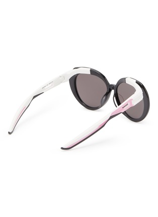 Figure View - Click To Enlarge - BALENCIAGA - Round acetate frame contrast temple sunglasses