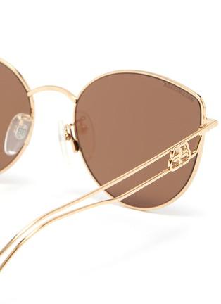 Detail View - Click To Enlarge - BALENCIAGA - Cutout temple metal frame aviator sunglasses