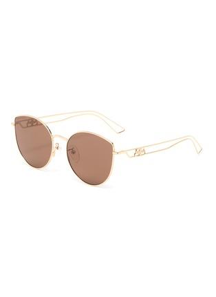Main View - Click To Enlarge - BALENCIAGA - Cutout temple metal frame aviator sunglasses