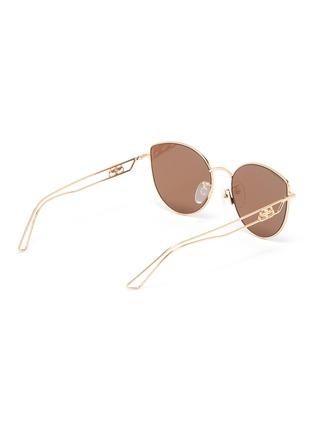 Figure View - Click To Enlarge - BALENCIAGA - Cutout temple metal frame aviator sunglasses