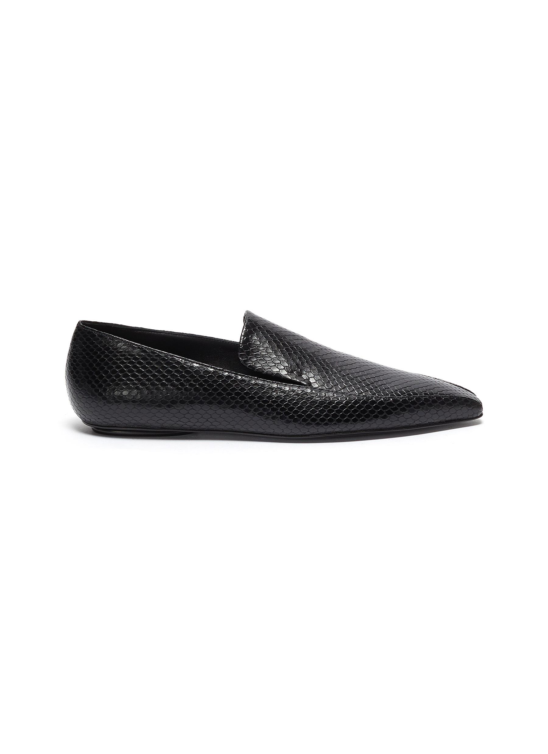 Rosetta Getty Flats Snake DOrsay leather loafers