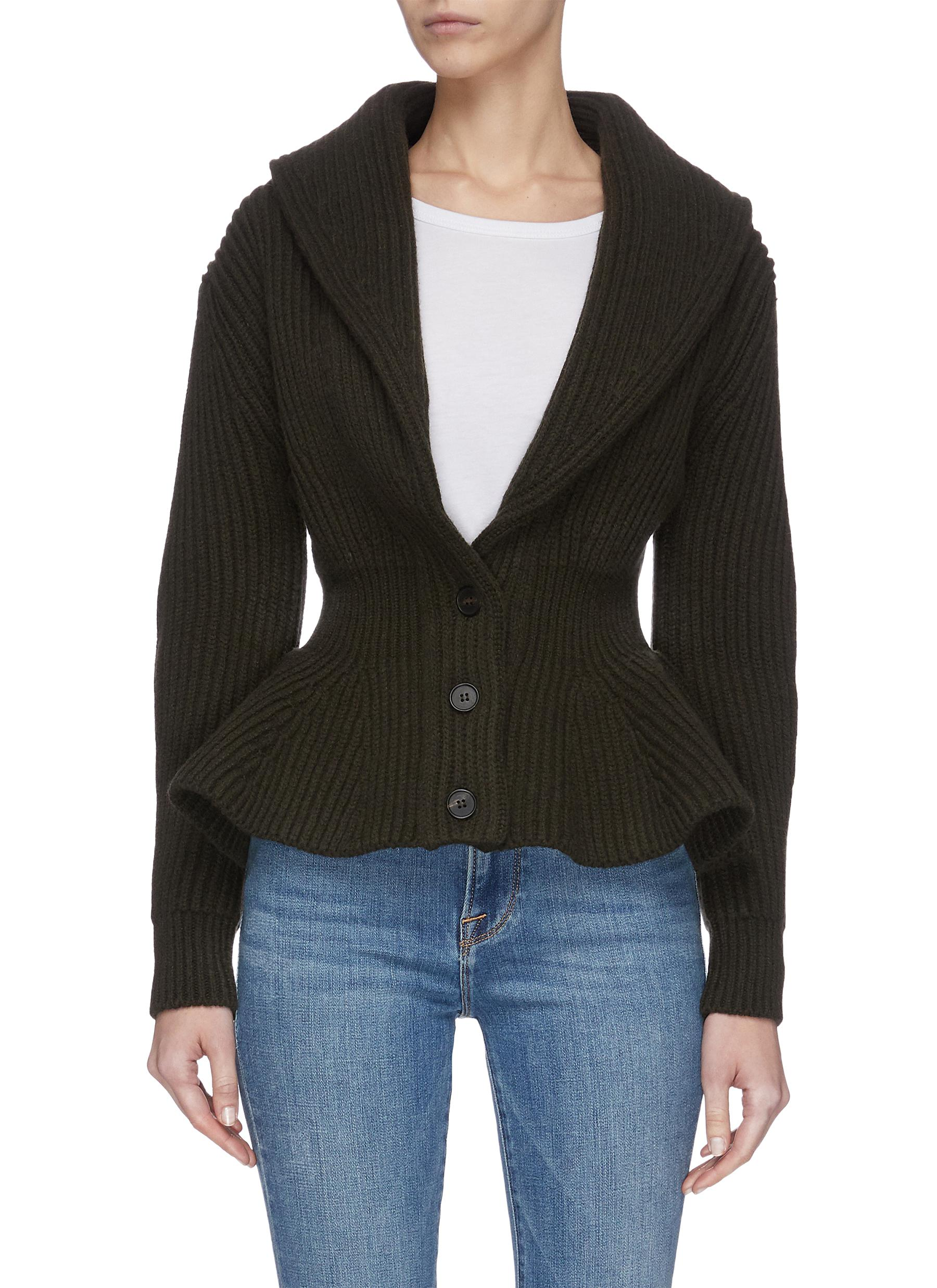 shop Alexander Mcqueen Chunky rib knit cinched cardigan online