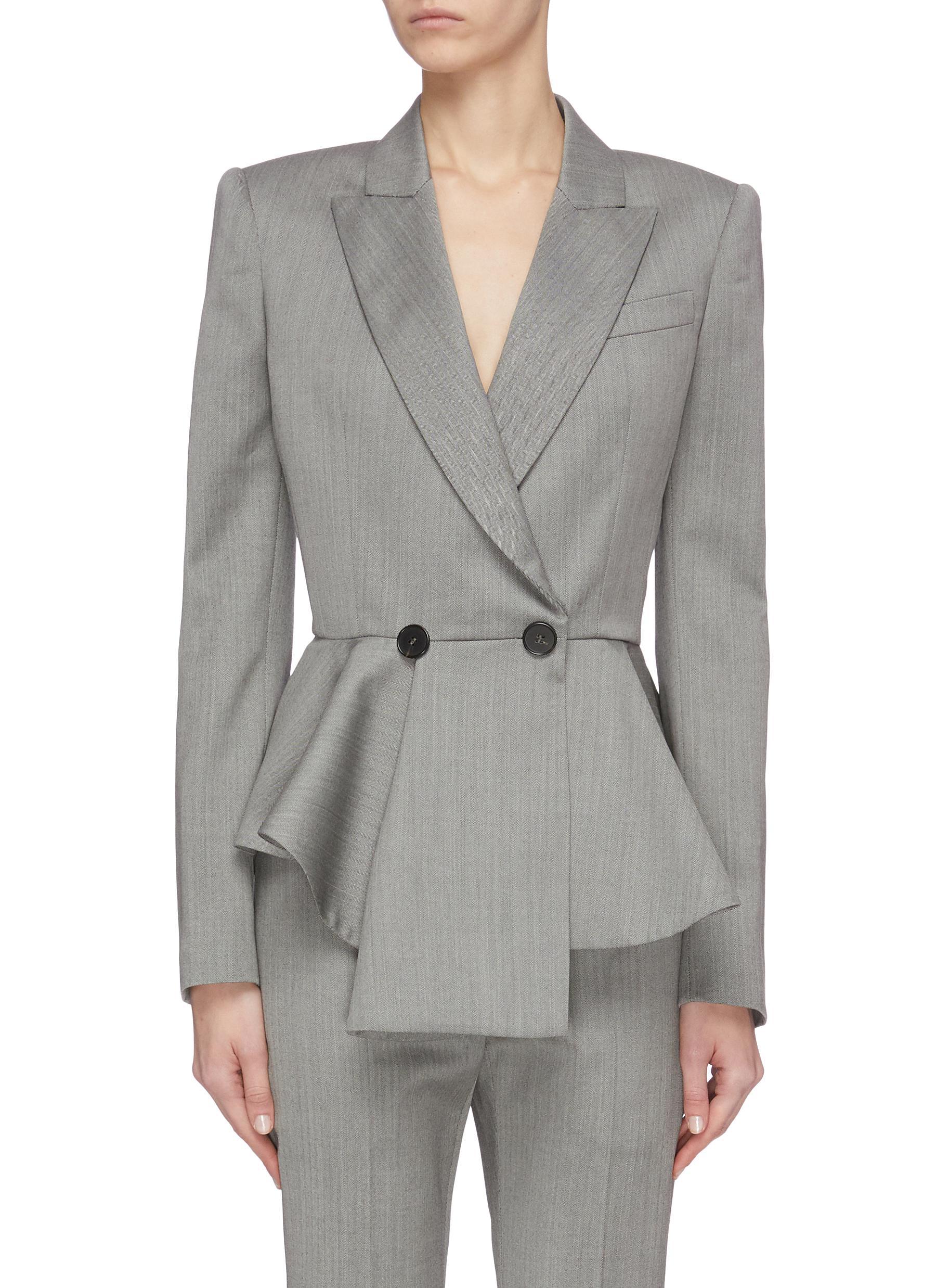 shop Alexander Mcqueen Notch lapel asymmetric peplum blazer online