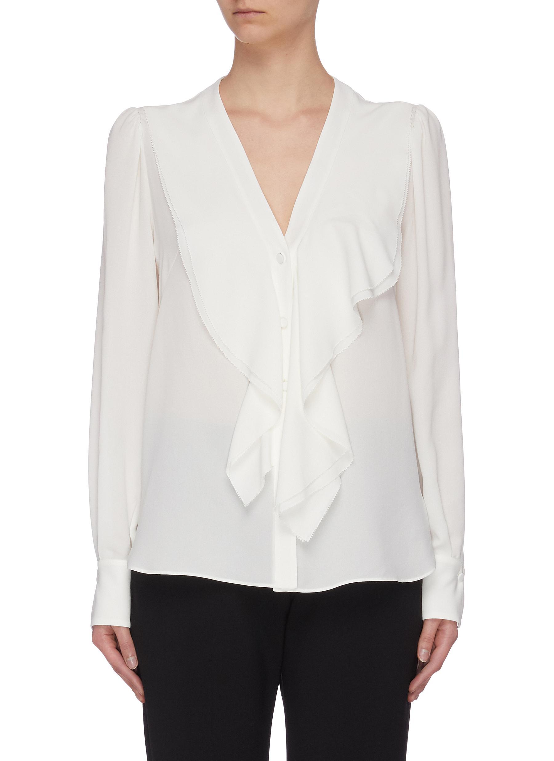 shop Alexander Mcqueen 'Georg' ruffle collar silk blouse online