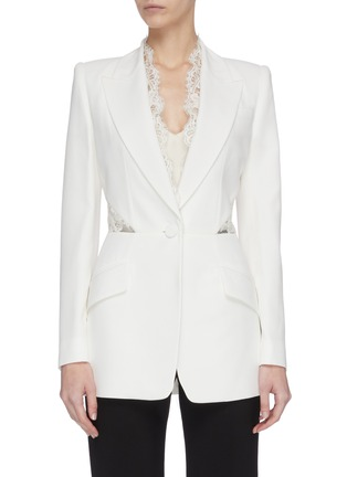 Main View - Click To Enlarge - ALEXANDER MCQUEEN - Lace panel blazer