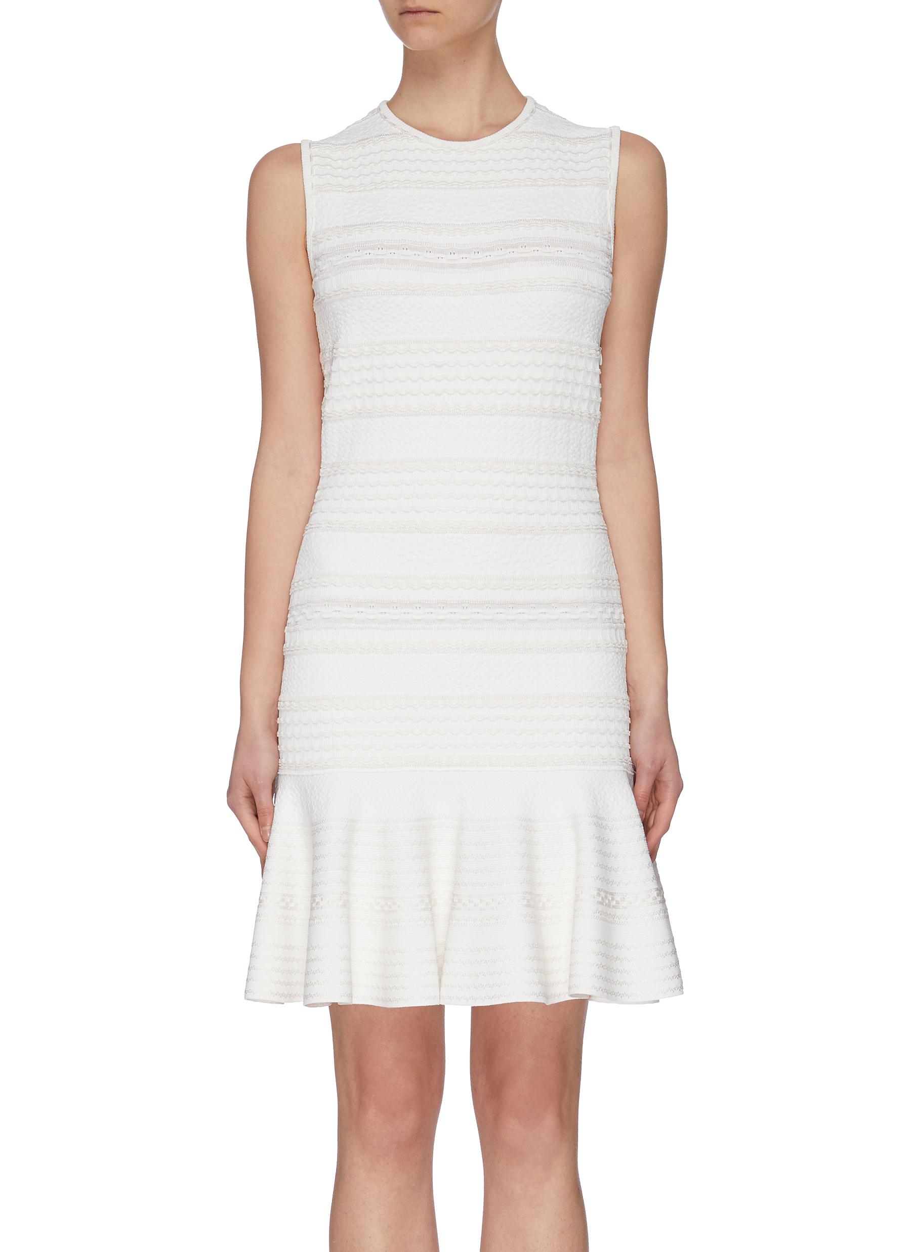 shop Alexander Mcqueen 'Hori' textured ruffle hem sleeveless dress online