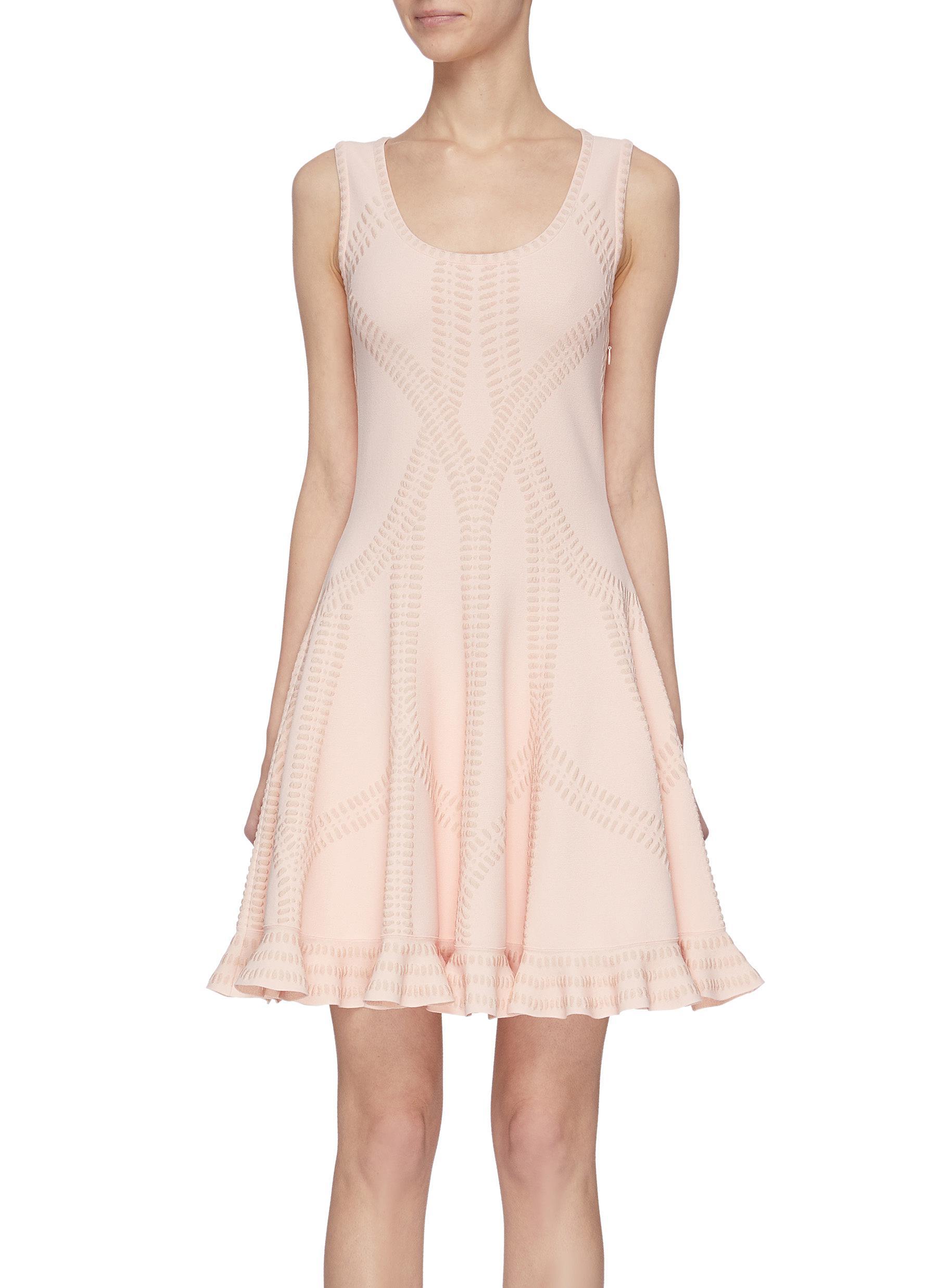 shop Alexander Mcqueen Cut out ruffle hem dress online