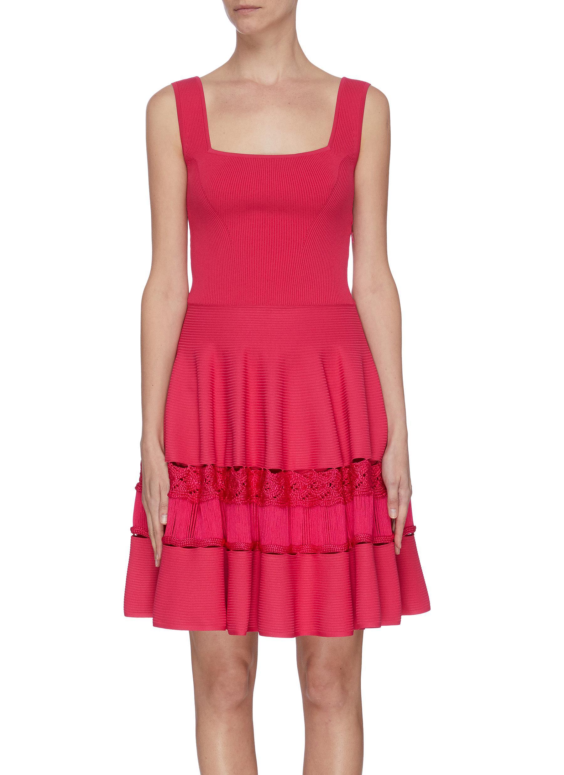 shop Alexander Mcqueen A-line lace panel rib knit dress online