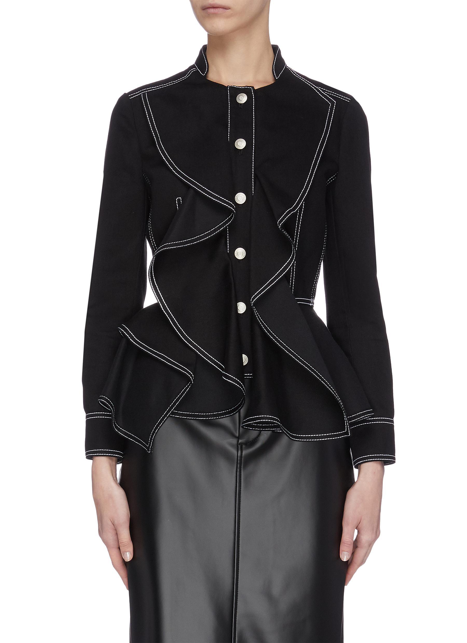 shop Alexander Mcqueen Contrast seam ruffle denim jacket online
