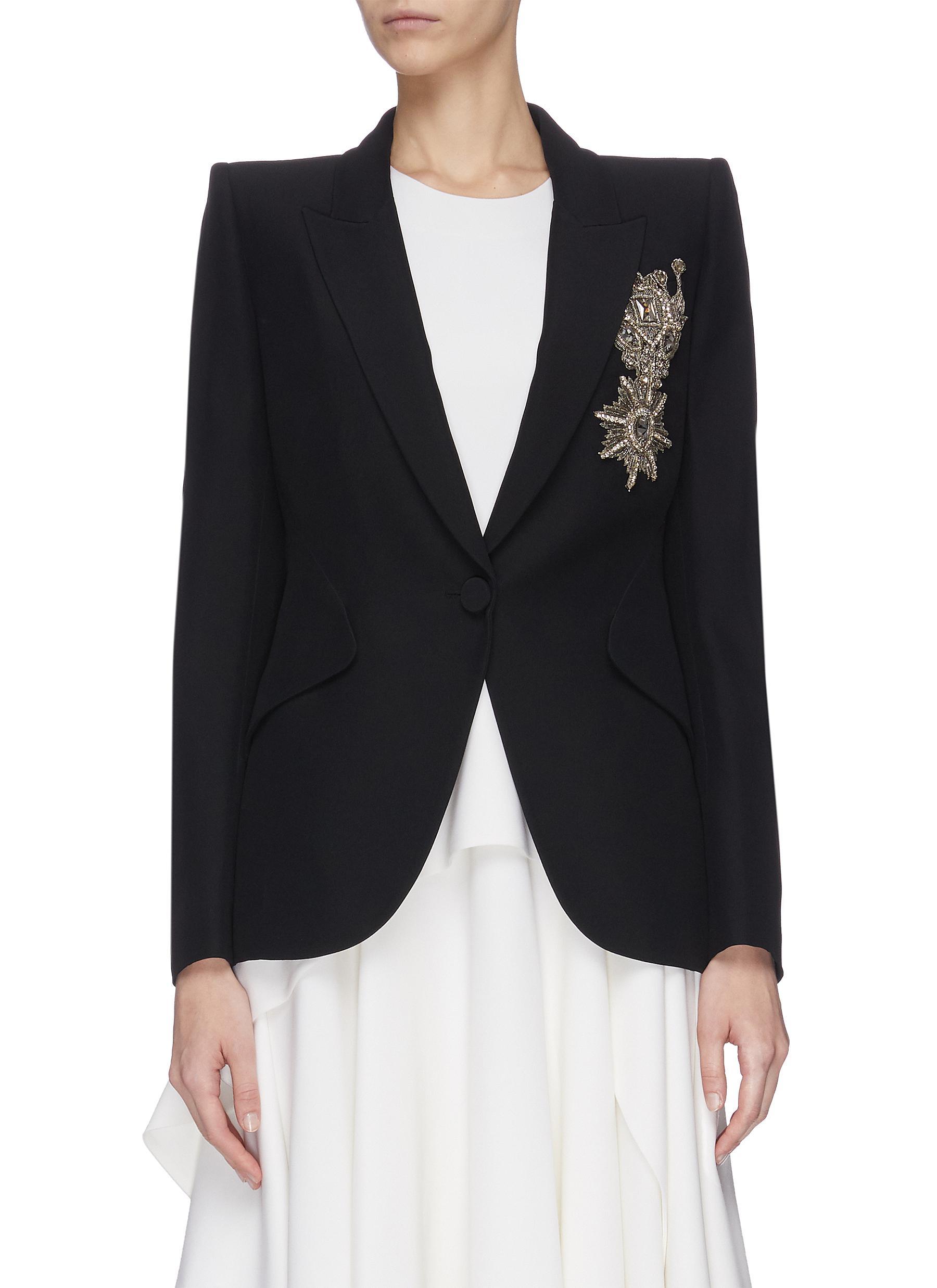 shop Alexander Mcqueen Brooch detail embroidered blazer online