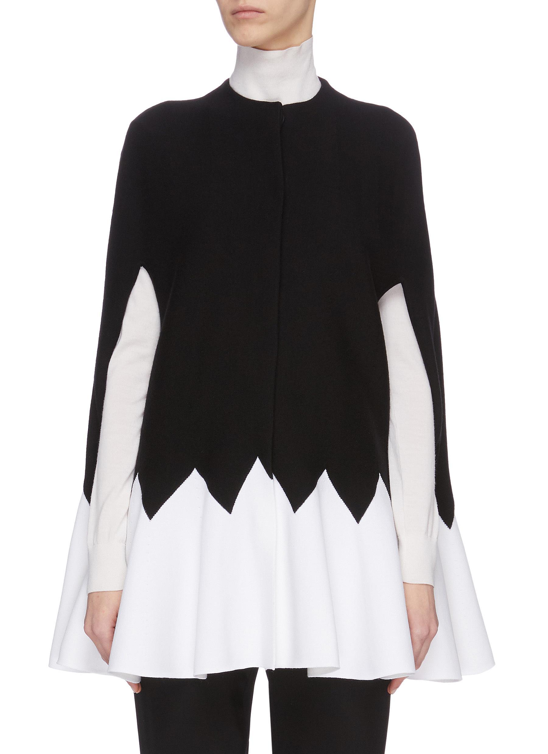 shop Alexander Mcqueen Contrast zigzag wool-blend cape online