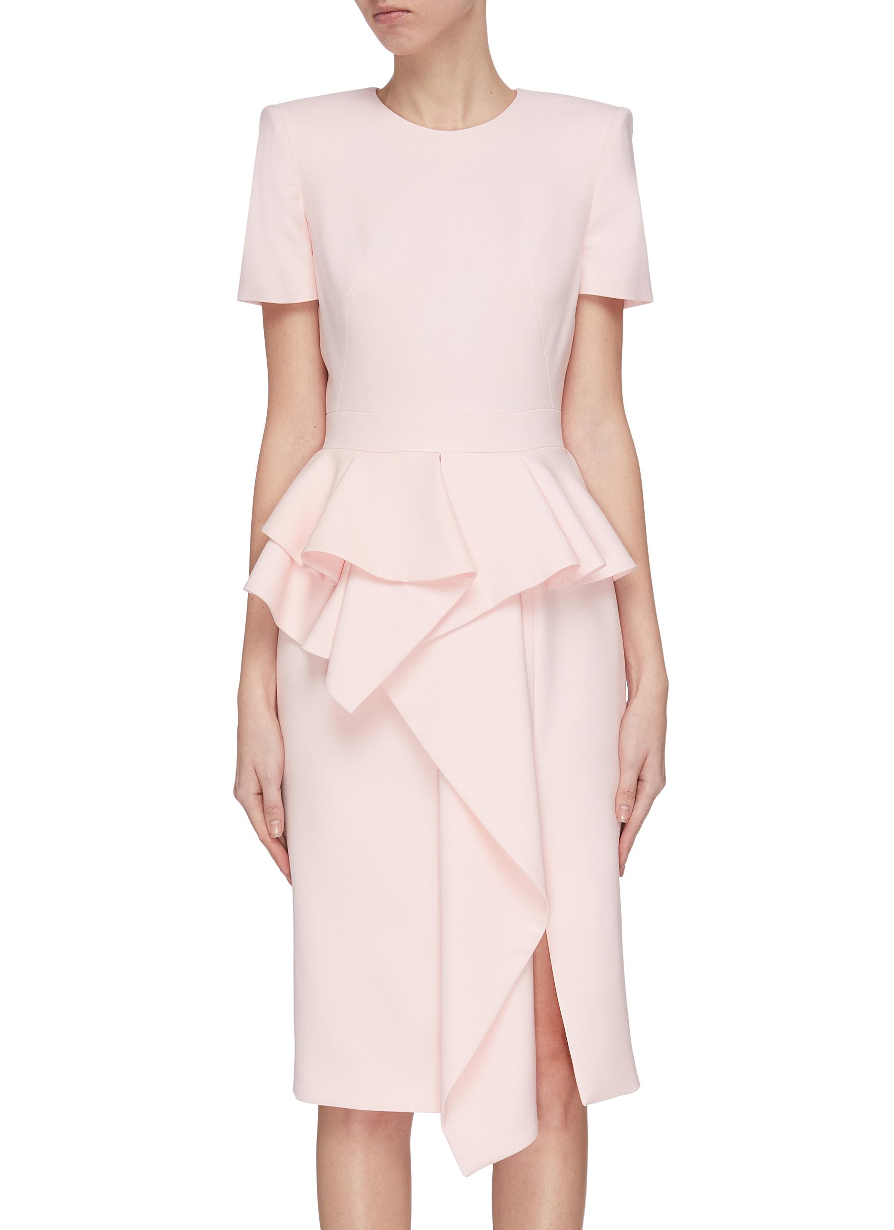 shop Alexander Mcqueen Asymmetric ruffle tailored dress online