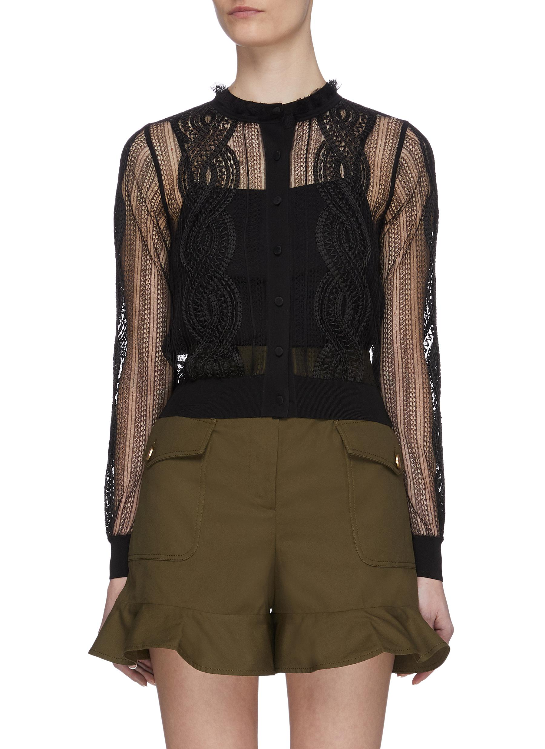 shop Alexander Mcqueen Sheer Lace Embroidered Cardigan online