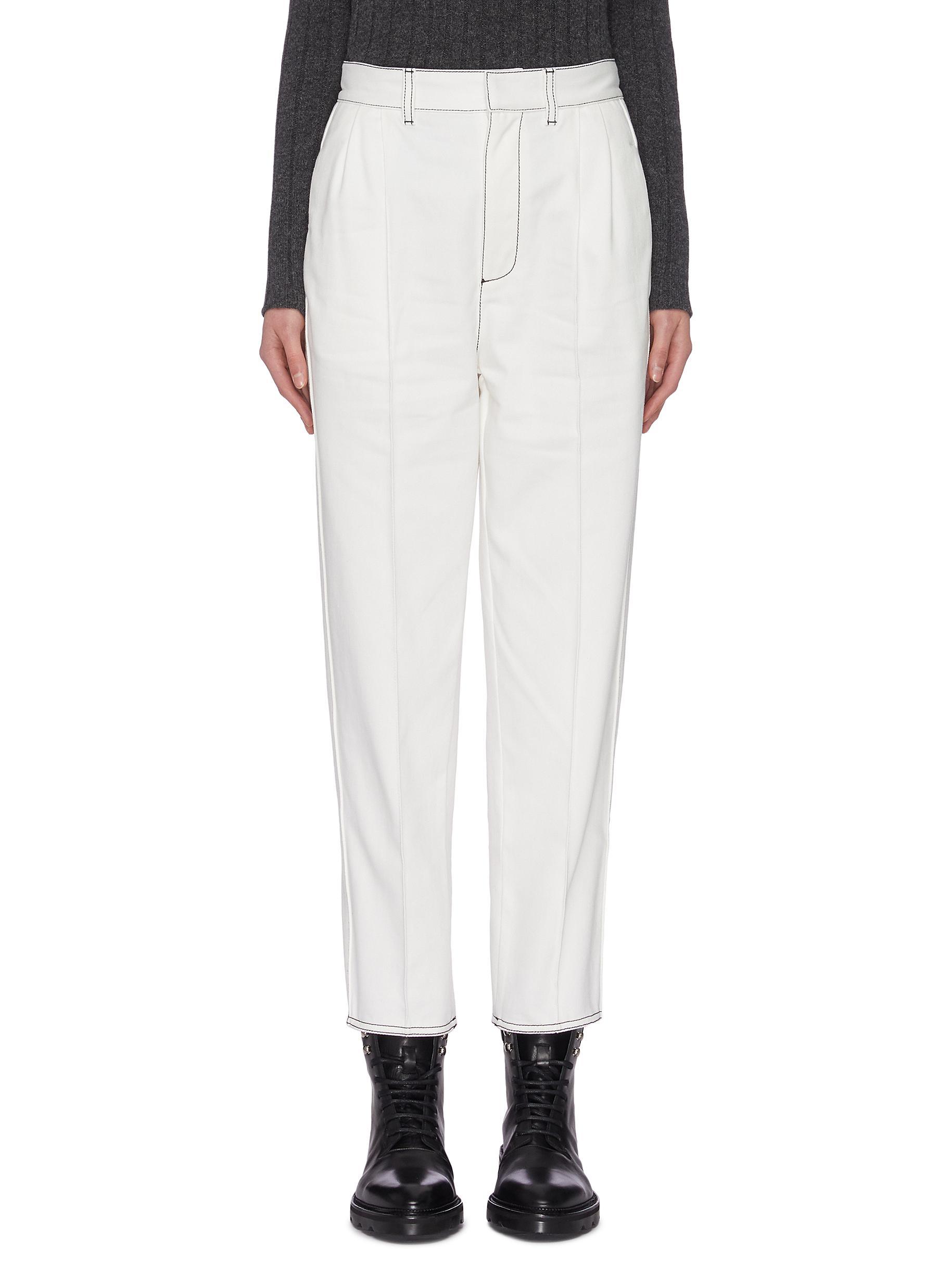 shop Alexander Mcqueen Contrast stitch straight leg denim pants online