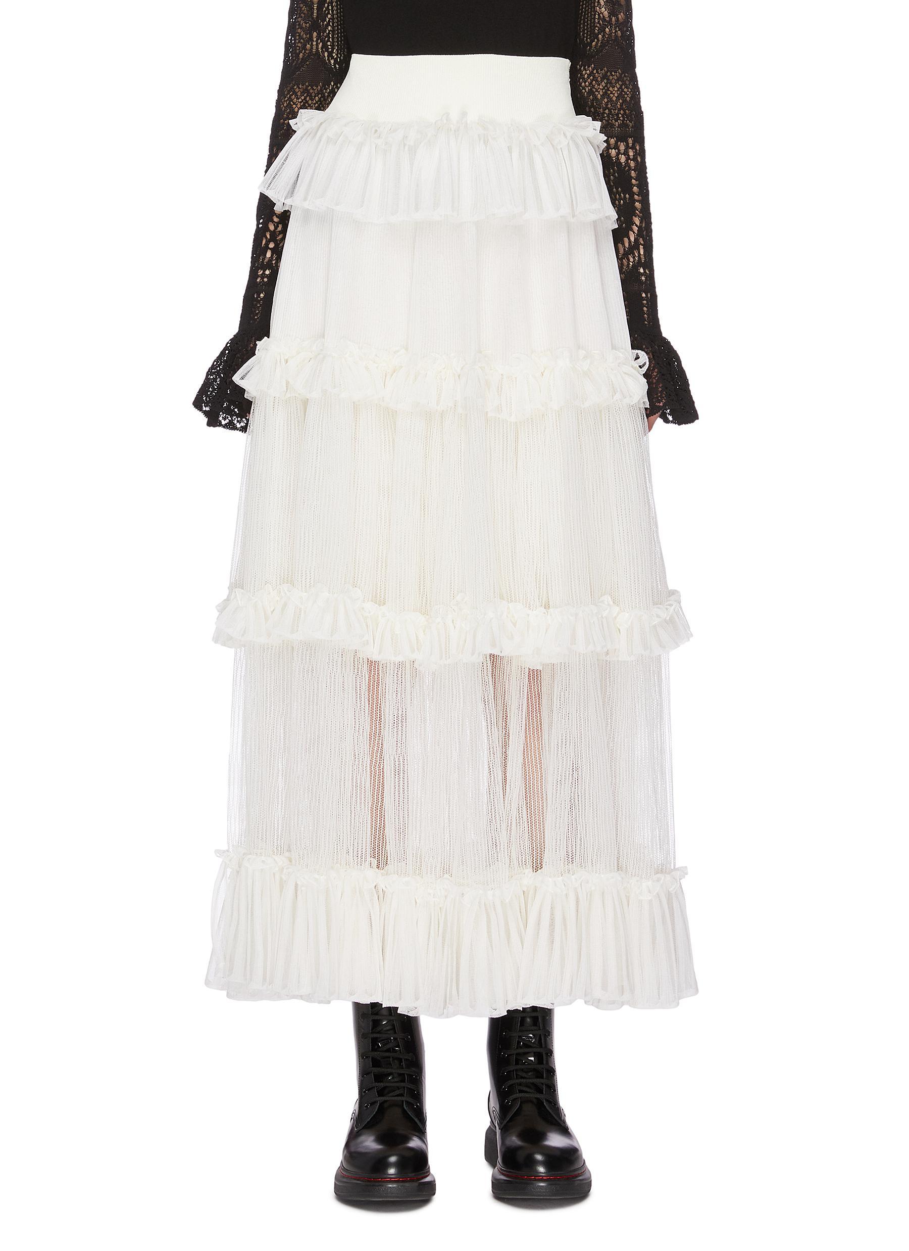 shop Alexander Mcqueen Sheer lace ruffle maxi skirt online