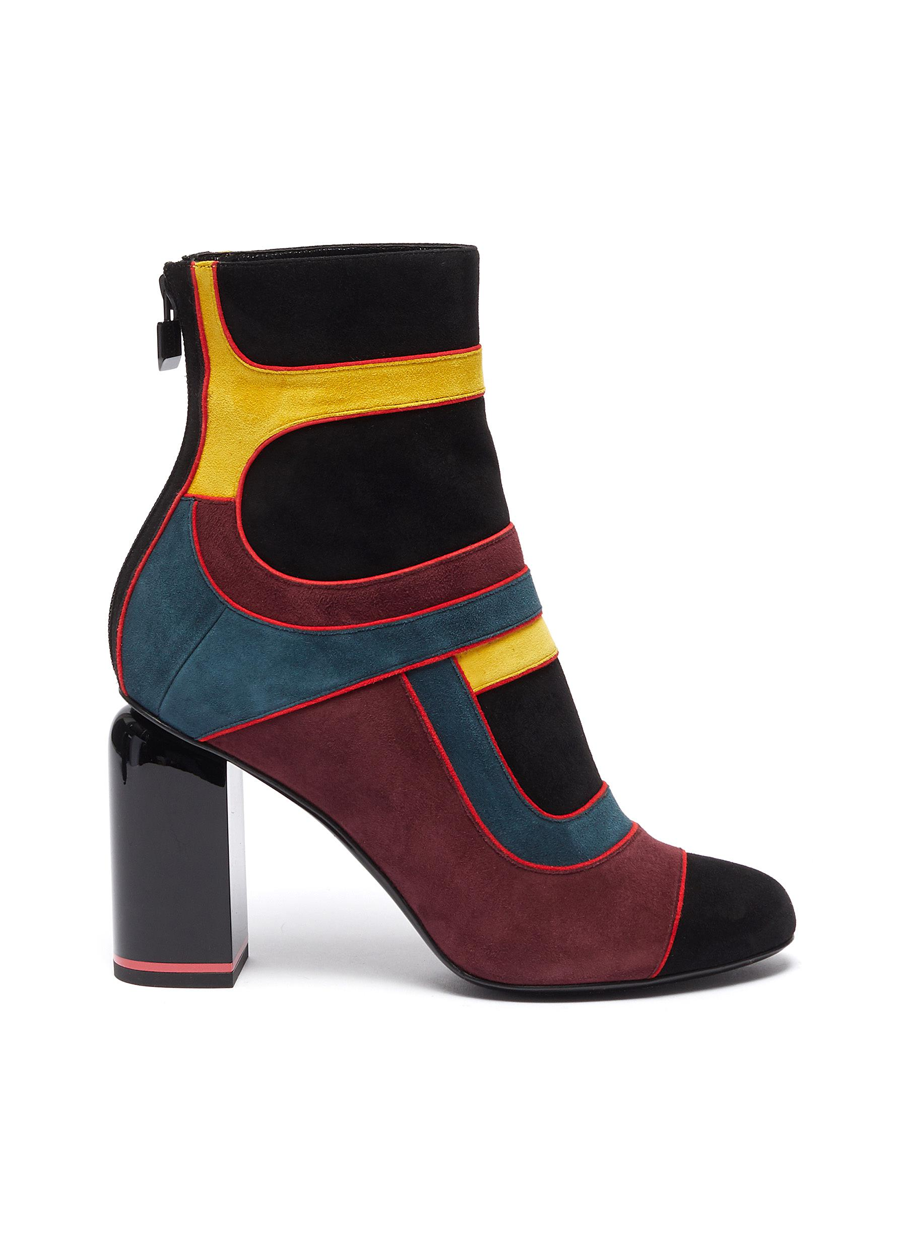 Pierre Hardy Boots Machina suede patchwork ankle boots