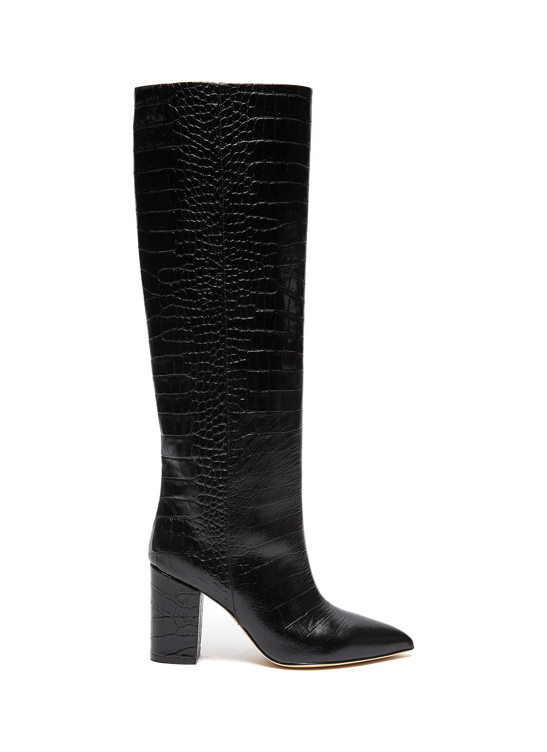 Paris Texas Boots CROC EMBOSSED LEATHER KNEE HIGH BOOTS
