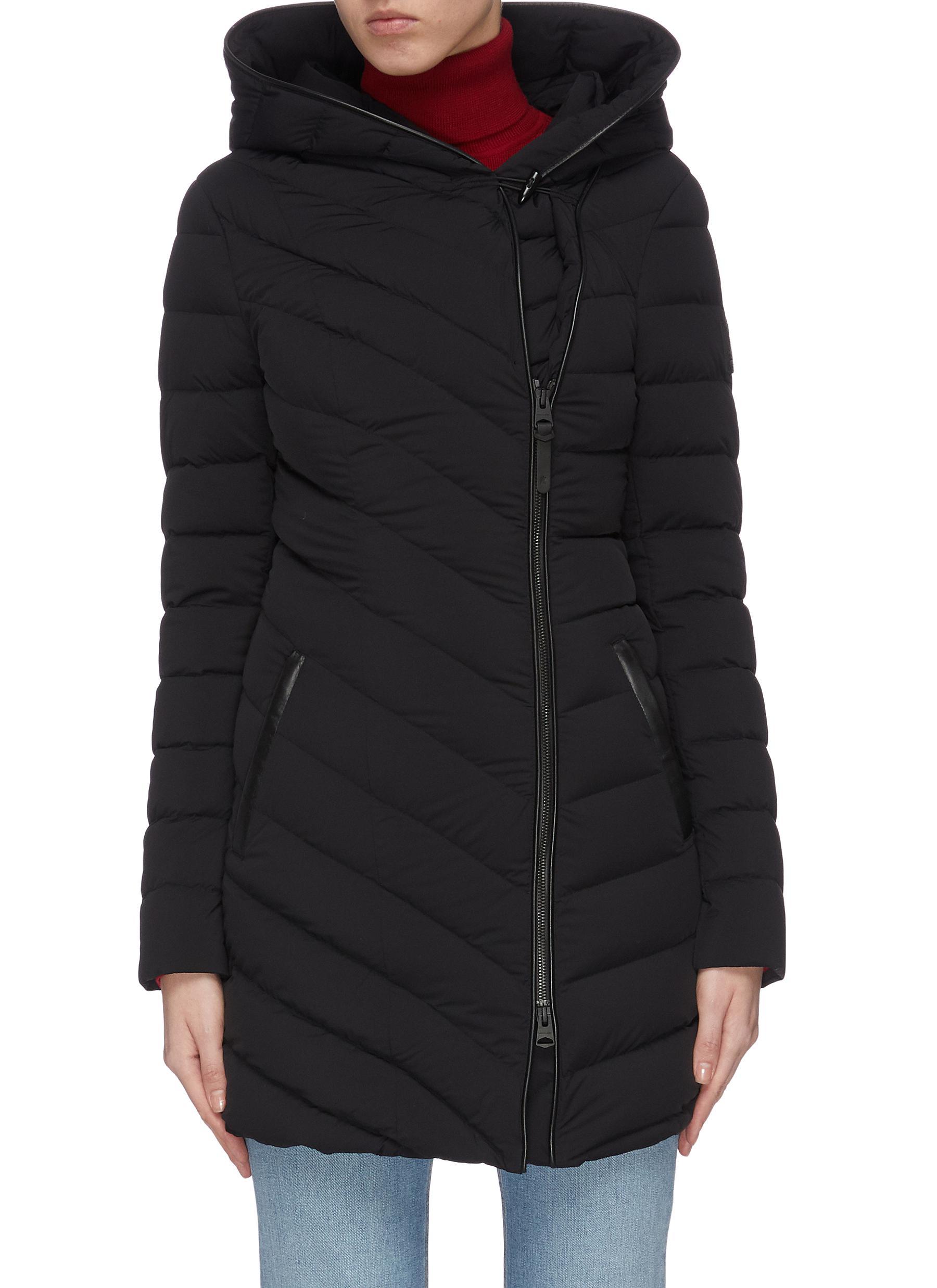 shop Mackage 'Nadine' asymmetric zip hooded puffer jacket online