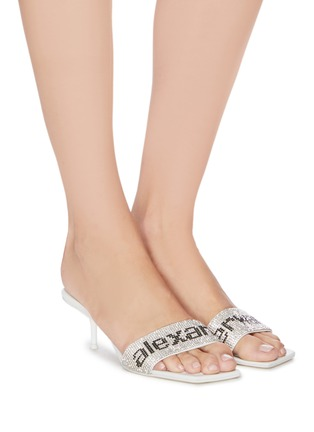 Figure View - Click To Enlarge - ALEXANDER WANG - Crystal logo leather mules
