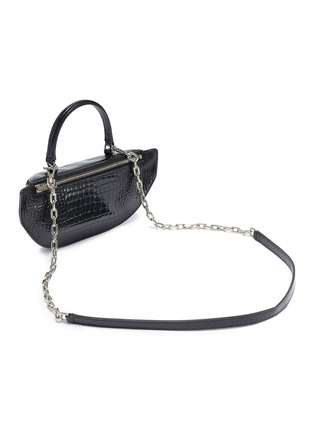 Detail View - Click To Enlarge - ALEXANDER WANG - 'Mini Fanny pack' croc-embossed patent leather handle bag