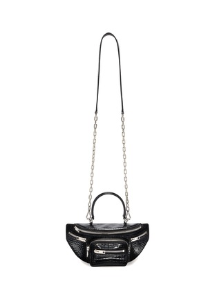 - ALEXANDER WANG - 'Mini Fanny pack' croc-embossed patent leather handle bag
