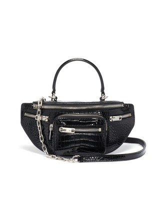 Main View - Click To Enlarge - ALEXANDER WANG - 'Mini Fanny pack' croc-embossed patent leather handle bag