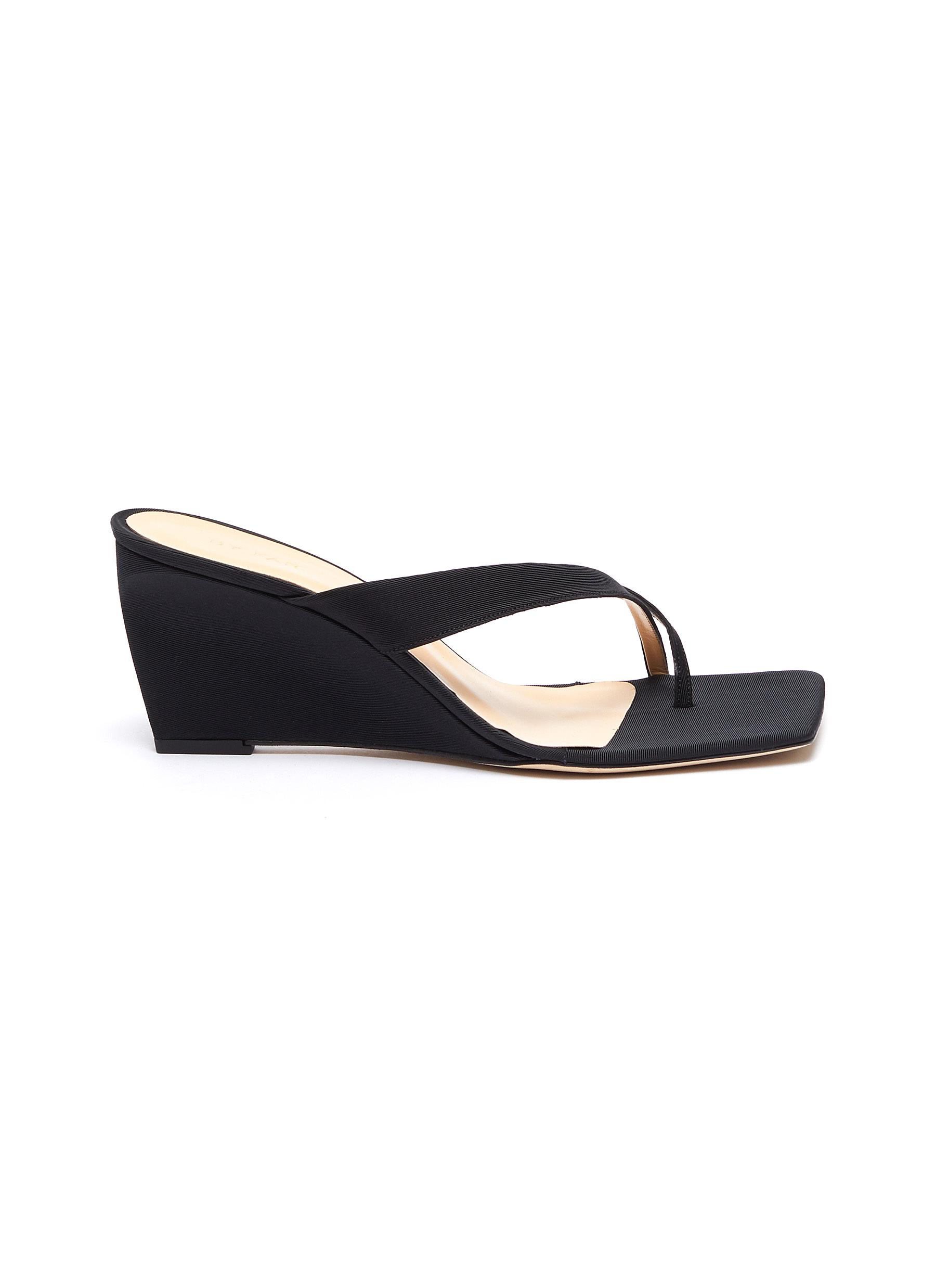 By Far Mid Heels Theresa wedge thong leather sandals