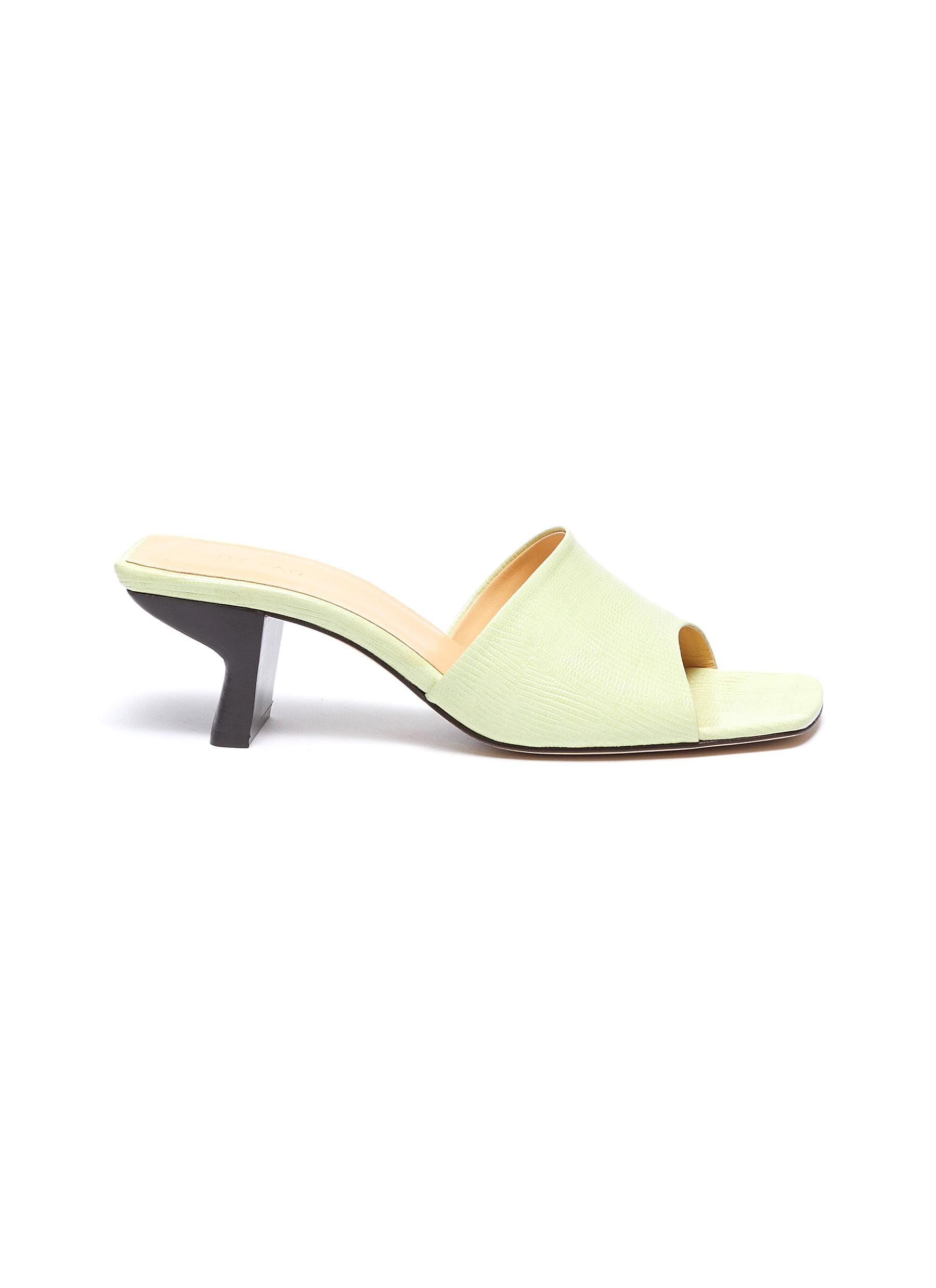 By Far Mid Heels Lily lizard embossed leather mules
