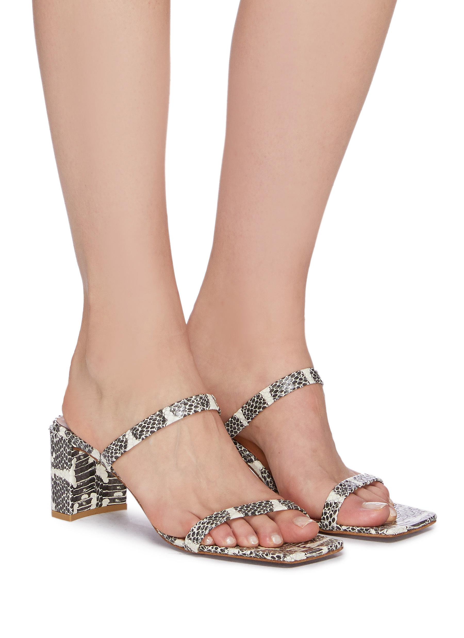 Figure View - Click To Enlarge - BY FAR - 'Tanya' snake embossed leather sandals