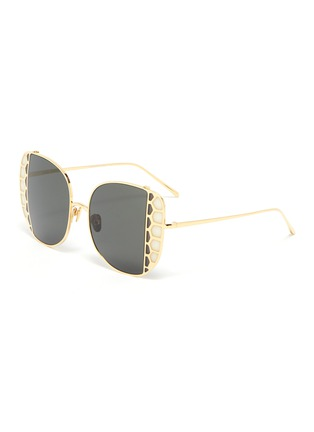 Main View - Click To Enlarge - LINDA FARROW - Butterfly wing metal frame sunglasses