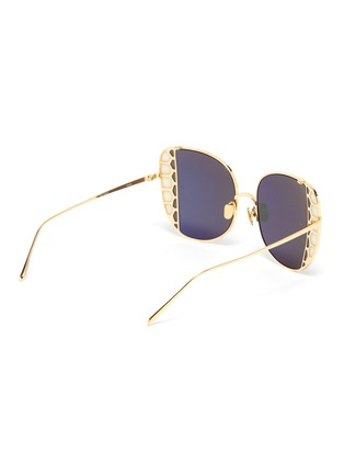 Figure View - Click To Enlarge - LINDA FARROW - Butterfly wing metal frame sunglasses