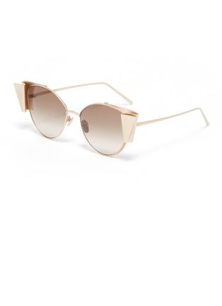 Main View - Click To Enlarge - LINDA FARROW - Metal ribbon frame cateye sunglasses