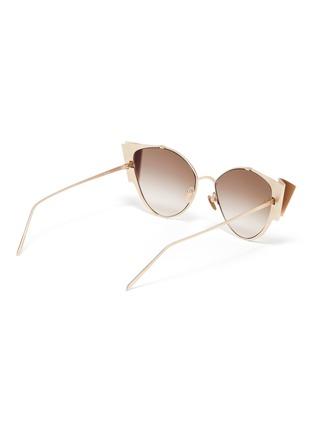 Figure View - Click To Enlarge - LINDA FARROW - Metal ribbon frame cateye sunglasses