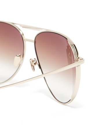 Detail View - Click To Enlarge - LINDA FARROW - Metal Aviator Frame Sunglasses