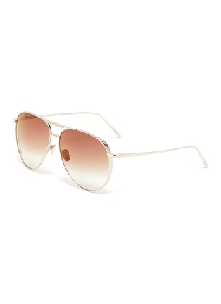 Main View - Click To Enlarge - LINDA FARROW - Metal Aviator Frame Sunglasses