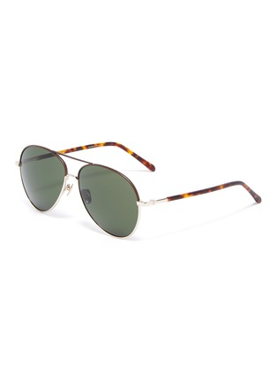 Main View - Click To Enlarge - LINDA FARROW - metal frame tortoiseshell effect temples aviator sunglasses
