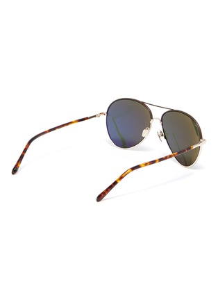 Figure View - Click To Enlarge - LINDA FARROW - metal frame tortoiseshell effect temples aviator sunglasses