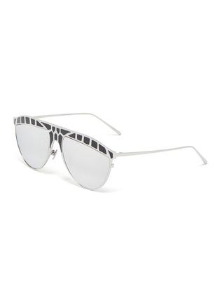 Main View - Click To Enlarge - LINDA FARROW - 'Huston' Metal Frame Aviator Sunglasses