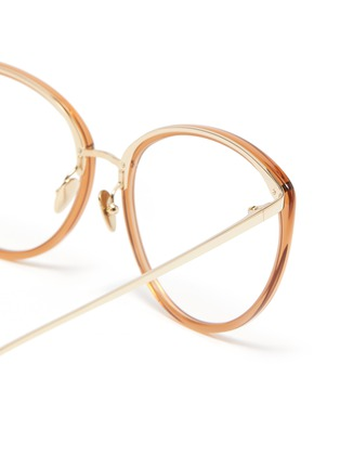 Detail View - Click To Enlarge - LINDA FARROW - Acetate frame tobacco cateye optical glasses