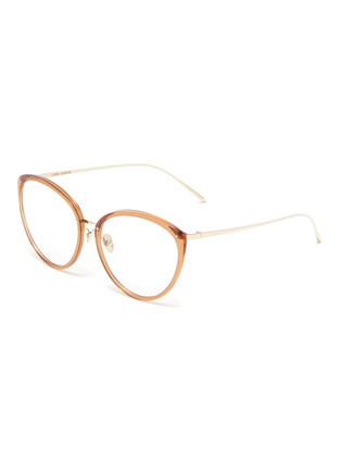 Main View - Click To Enlarge - LINDA FARROW - Acetate frame tobacco cateye optical glasses