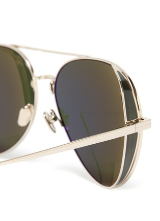 Detail View - Click To Enlarge - LINDA FARROW - Metal Aviator Frame Sunglasses