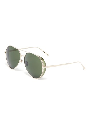Main View - Click To Enlarge - LINDA FARROW - Metal Aviator Frame Sunglasses