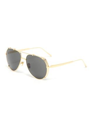 Main View - Click To Enlarge - LINDA FARROW - Metal frame aviator sunglasses