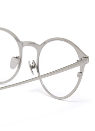 Detail View - Click To Enlarge - LINDA FARROW - Marble effect frame metal tips round optical glasses