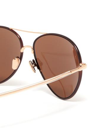 Detail View - Click To Enlarge - LINDA FARROW - Metal Frame Aviator Sunglasses